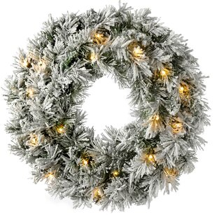 Review Pre-Lit LED Snow 60cm Flocked Spruce Wreath