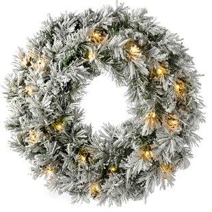 Compare Price Pre-Lit LED Snow 60cm Flocked Spruce Wreath