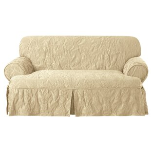 Matelasse Damask T-Cushion Loveseat Slipcover