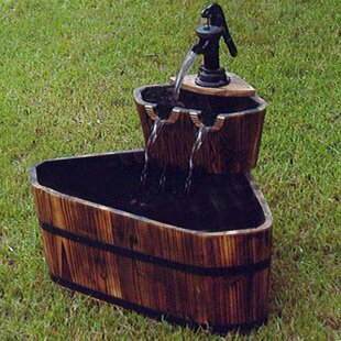 Wood Barrel Fountain By Brambly Cottage