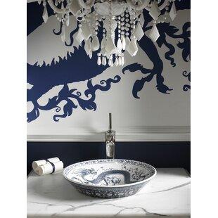 Imperial Blue Ceramic Circular Vessel Bathroom Sink Kohler