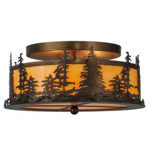 Meyda Tiffany Tall Pines 2-Light Semi-Flush Mount
