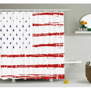 American Vector Grunge Texture Flag of United States of America Illustration Print Single Shower Curtain