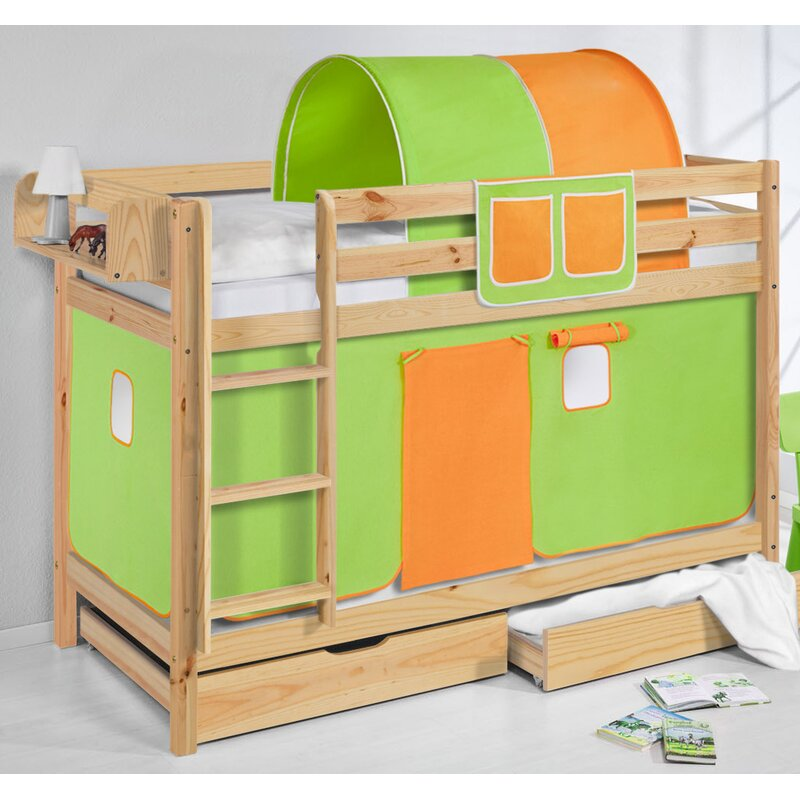 Just Kids Belle European Single Bunk Bed With Bottom Bunk Curtain