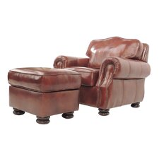 Brent Leather Club Chair and Ottoman by Darby Home Co