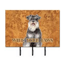 Schnauzer Wipe Your Paws Leash Holder and Key Hook by Caroline's Treasures
