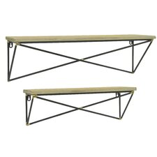 Wood with Metal Base 2 Piece Accent Shelf Set by Three Hands Co.