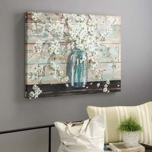 'Blossoms in Mason Jar' by Tre Sorelle - Wrapped Canvas Print