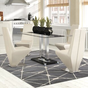 Biddulph Steel And Glass Dining Set With 4 Chairs By Metro Lane