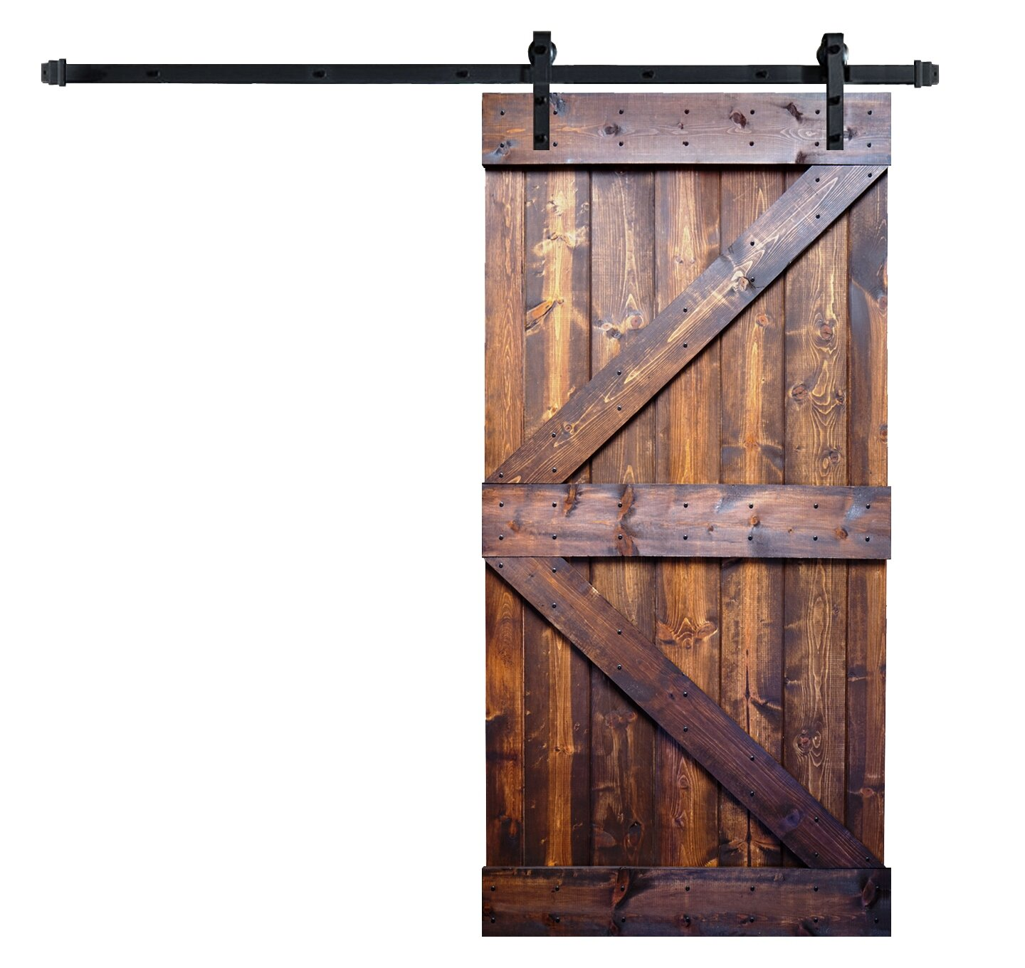 Wellhome Paneled Wood Painted Barn Door With Installation Hardware Kit Reviews