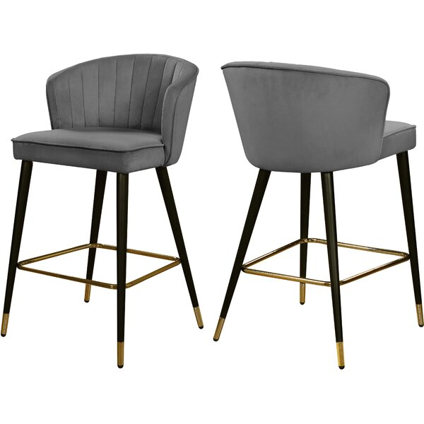 Fine Modern Contemporary Grey Velvet Barstool Allmodern Gmtry Best Dining Table And Chair Ideas Images Gmtryco