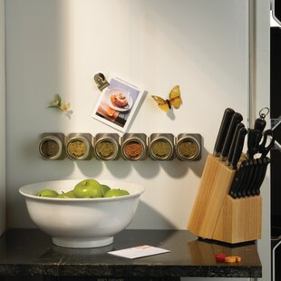 Magnetic 6 Jar Spice Spice Jar & Rack Set