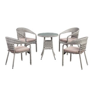 Lark Manor Alex Outdoor 5 Piece Dining Set with Cushions