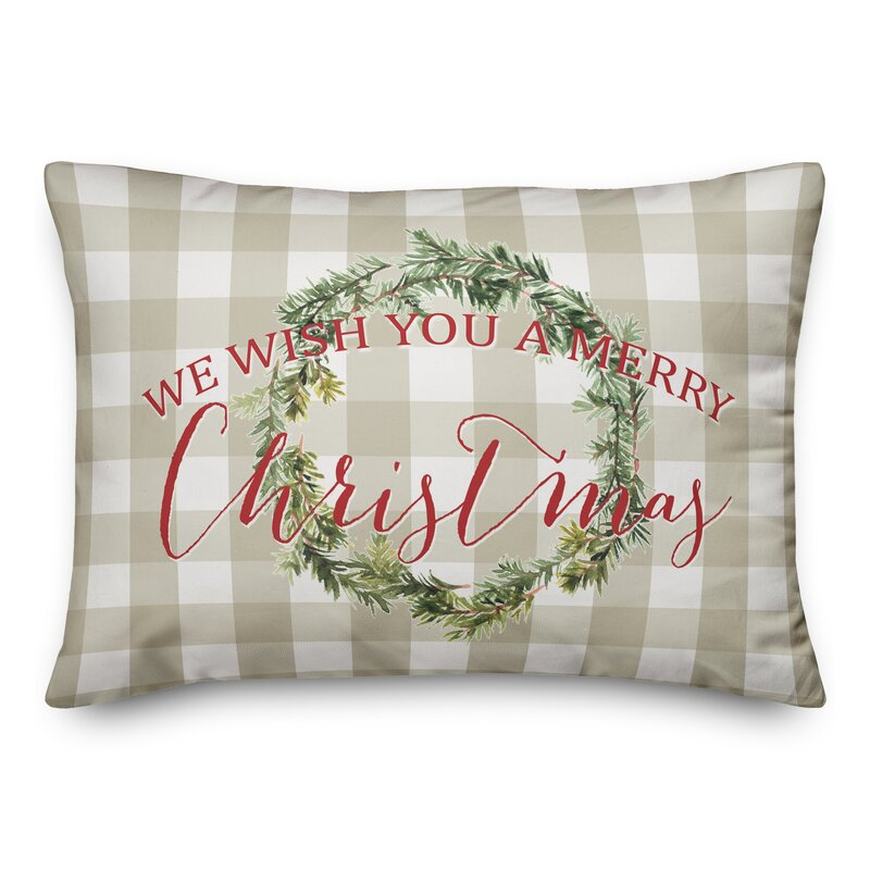 The Holiday Aisle Valerton We Wish You A Merry Christmas Lumbar Pillow Reviews Wayfair
