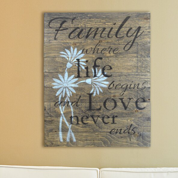 Family Where Life Begins And Love Never Ends Wooden Pallet Sign Wall Décor