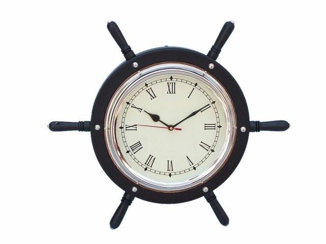 15u0027u0027 Wooden Ship Wheel Wall Clock