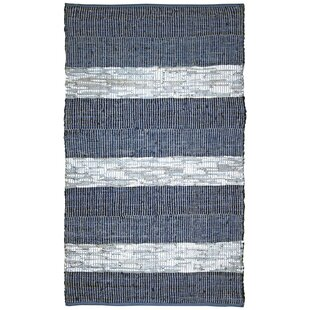 Great choice Sandford Flatweave Cotton/Leather Blue/White Area Rug By Highland Dunes