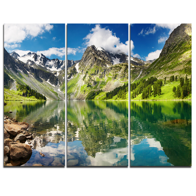Designart Reflecting Mountain Lake 3 Piece Graphic Art On Wrapped Canvas Set Wayfair