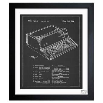 Typewriter' Framed Blueprint | Birch Lane