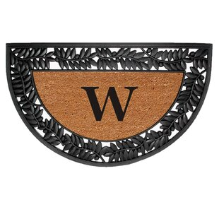 Half Round Olive Border Personalized Monogrammed 36 In. X 22 In. Non-Slip Outdoor Door Mat By Nedia Home