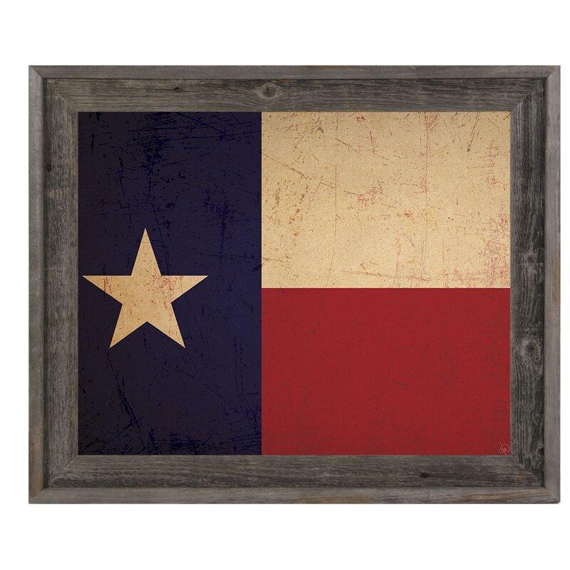 Click Wall Art \'Texas Flag Vintage\' Framed Graphic Art & Reviews ...