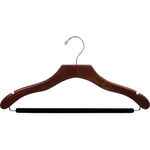 Compare & Buy Wavy Wooden Suit Non-Slip Hanger with Velvet Bar (Set of 25) By Rebrilliant