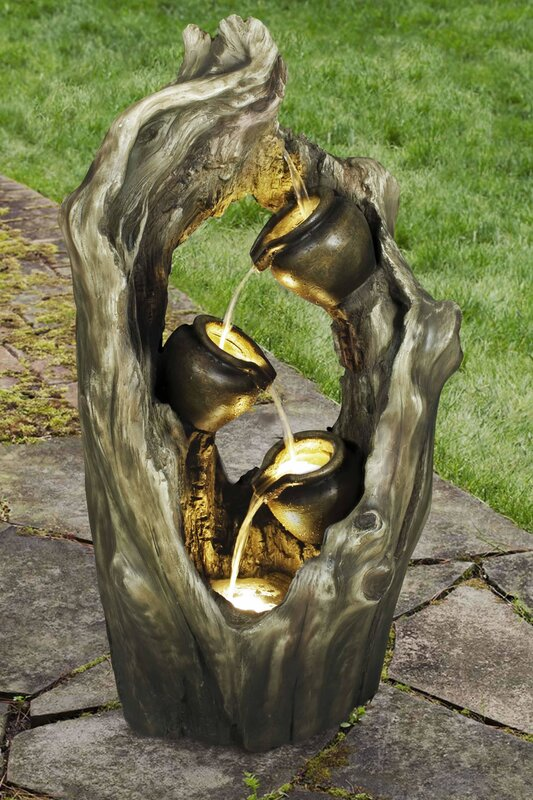 Resin Woodland 3 Pot Cascading Outdoor Garden Fountain With Light