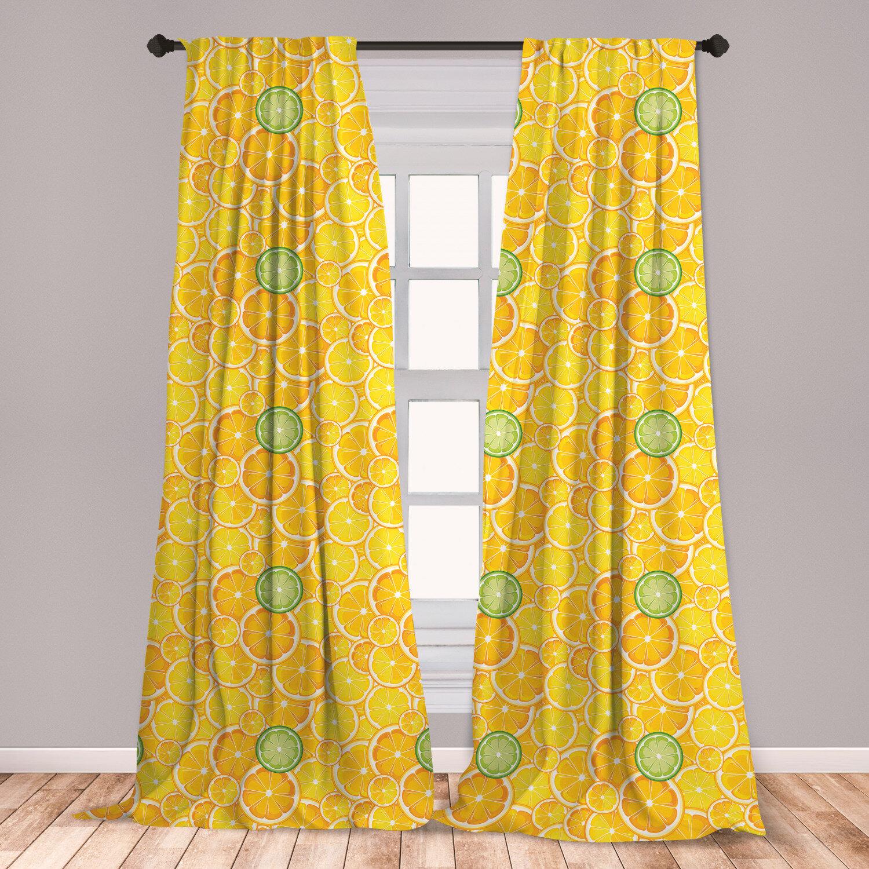 East Urban Home Lemon Lime Fruit Room Darkening Rod Pocket Curtain Panels Wayfair