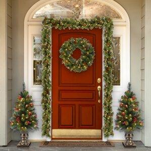 how to hang garland around front doorChristmas Garlands Youll Love  Wayfair