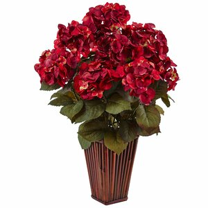 Silk Hydrangea Floral Arrangement in Bamboo Planter