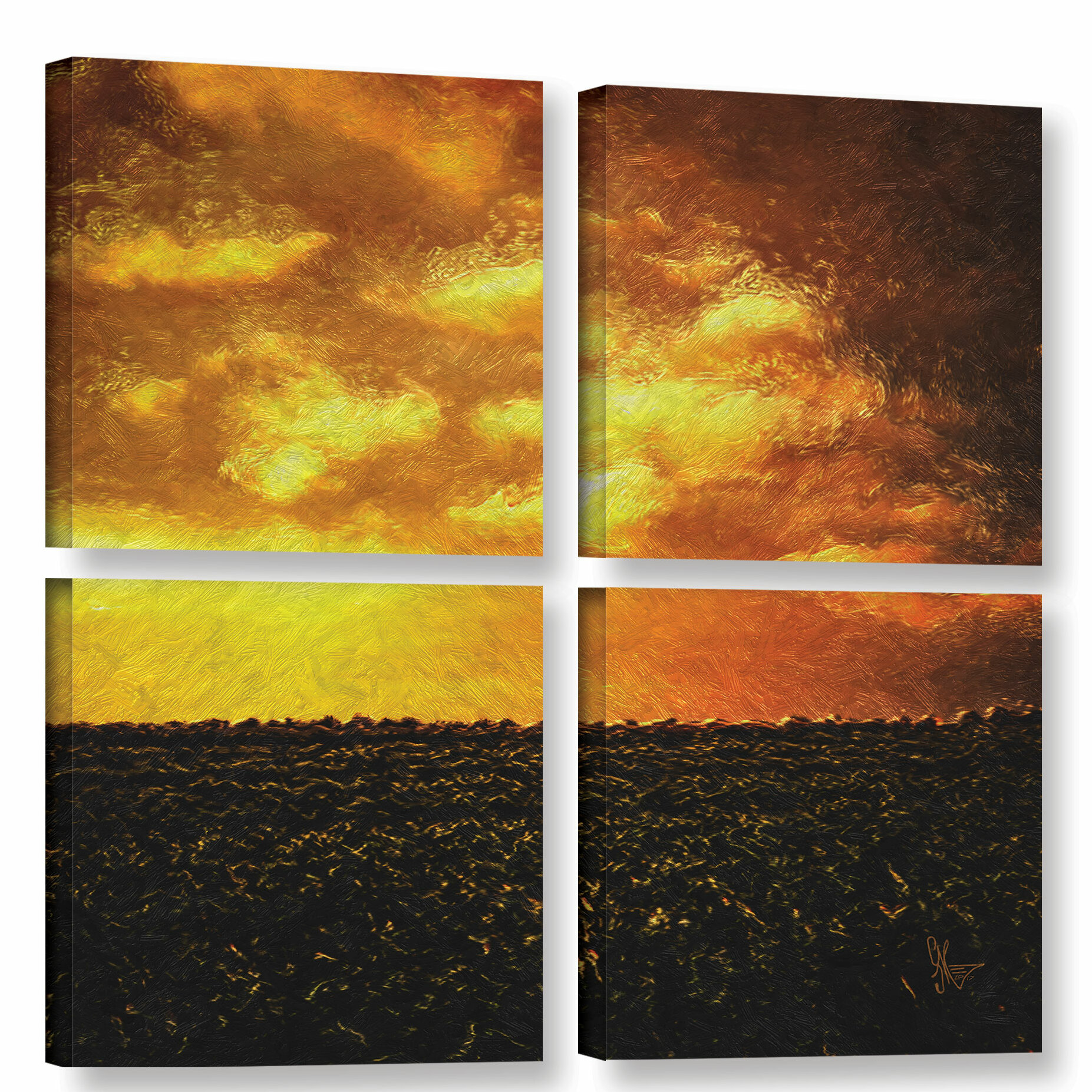 East Urban Home Roswell 4 Piece Painting Print On Wrapped Canvas Set Wayfair