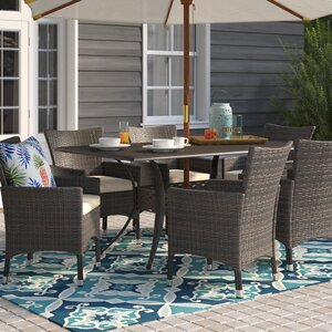Tellara Outdoor 7 Piece Dining Set with Cushions