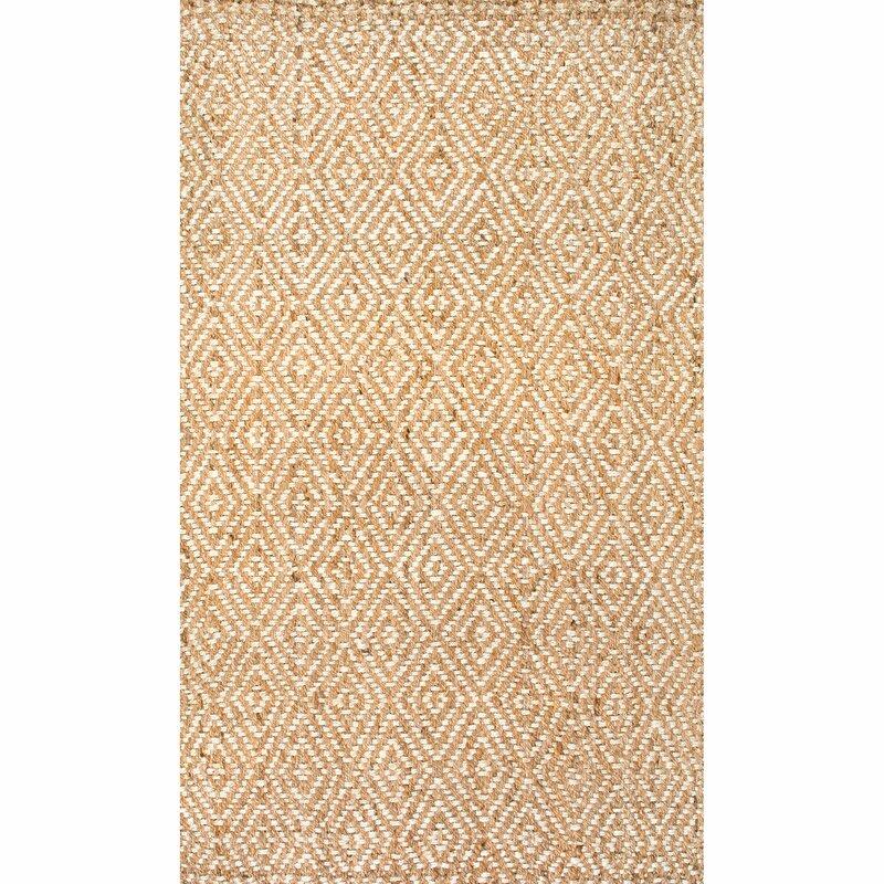 Union Rustic Jasiah Geometric Hand Tufted Jute Sisal Ivory Taupe Area Rug Reviews