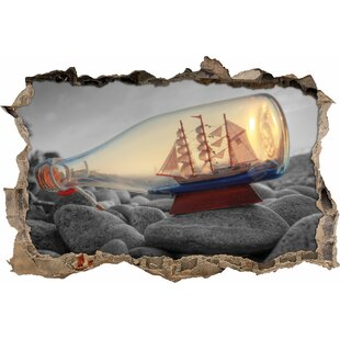 Ship In Bottle On Stone Beach Wall Sticker By East Urban Home