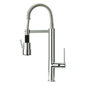 Just Manufacturing Single Handle Deck Mounted Kitchen Faucet with Spring Swivel Spout Dual Mode Spray