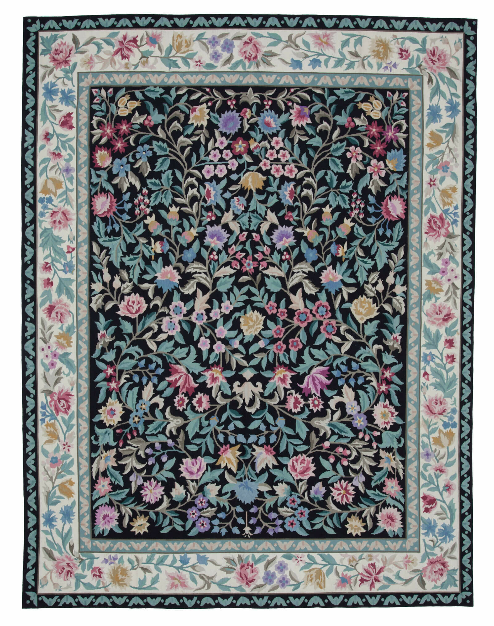 Bespoky Vintage Rugs One Of A Kind Floral Hand Knotted 8 X 10 Teal Black Pink Area Rug Perigold
