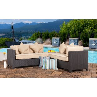 Glenbrook 3 Piece Rattan Sectional Set with Cushions