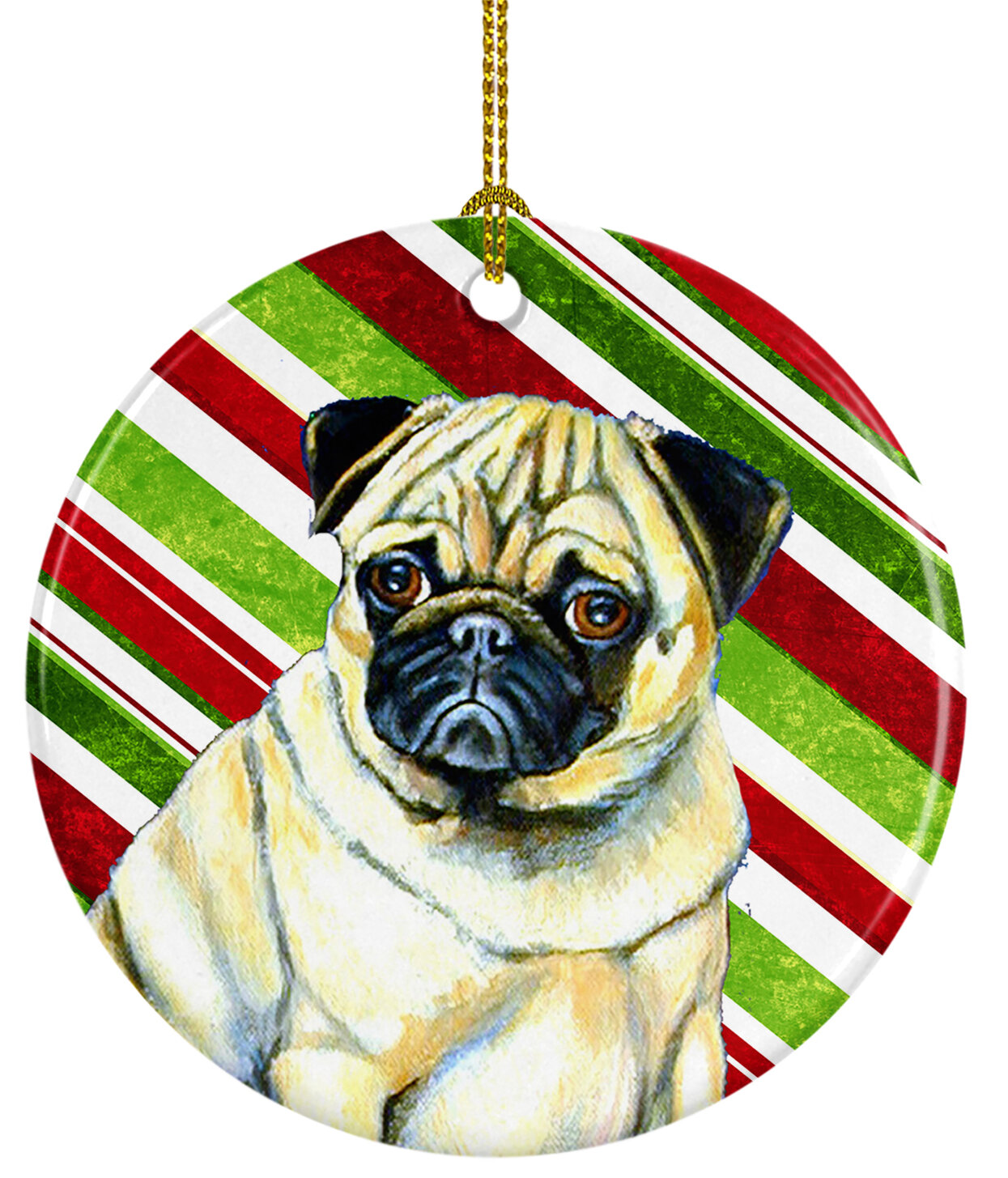 The Holiday Aisle Pug Holiday Christmas Ceramic Hanging Figurine Ornament Wayfair