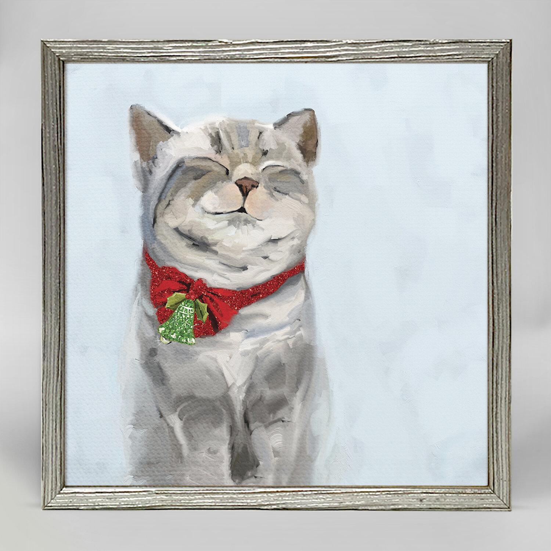 The Holiday Aisle Festive Tabby Acrylic Painting Print On Canvas Wayfair