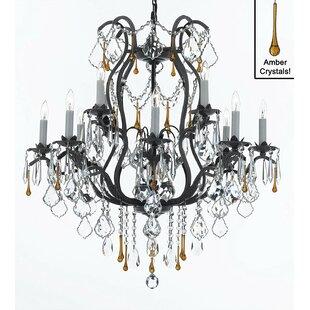 Rosdorf Park Clemence 12-Light Black Chain Candle Style Chandelier