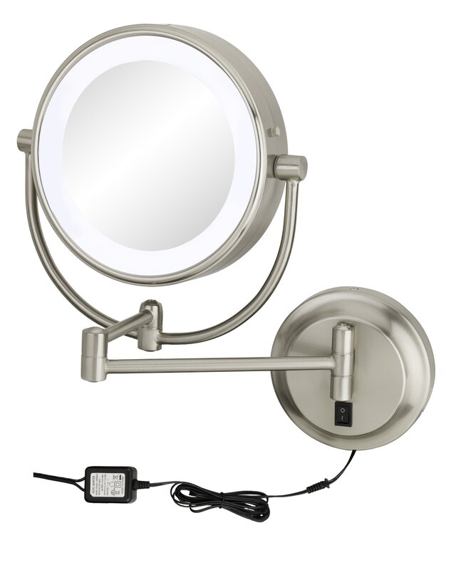Lighted Wall Mount Makeup Mirror kimball & young neo modern double-sided led lighted wall mounted