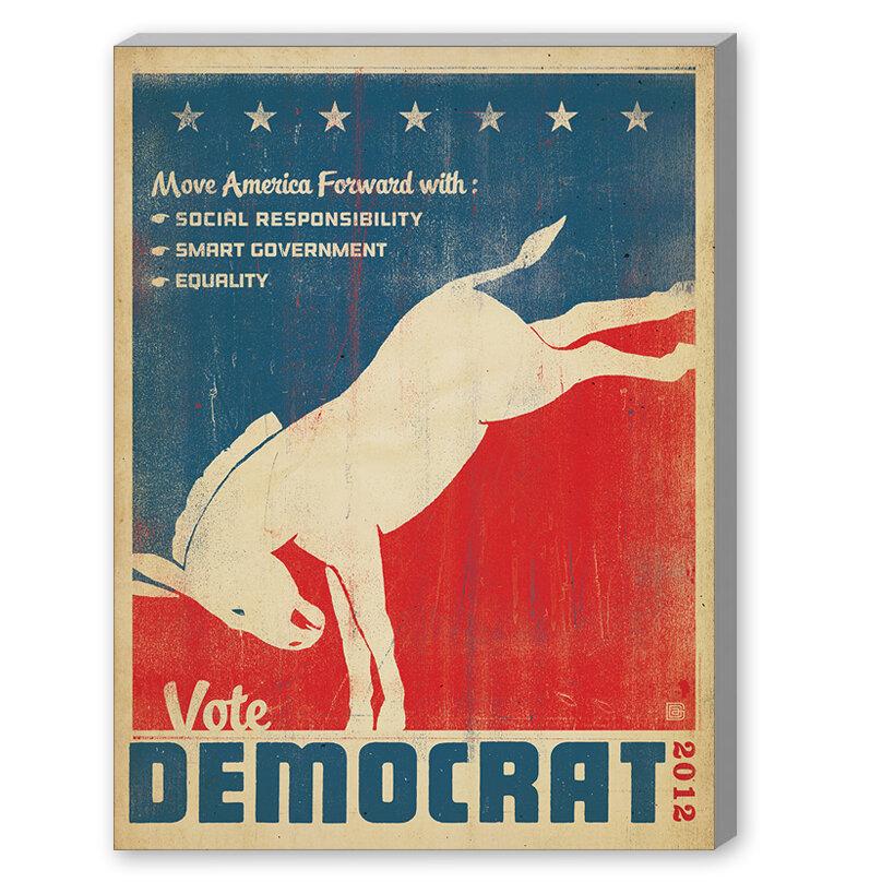 East Urban Home Vote Democrat Vintage Advertisement On Gallery Wrapped Canvas Wayfair