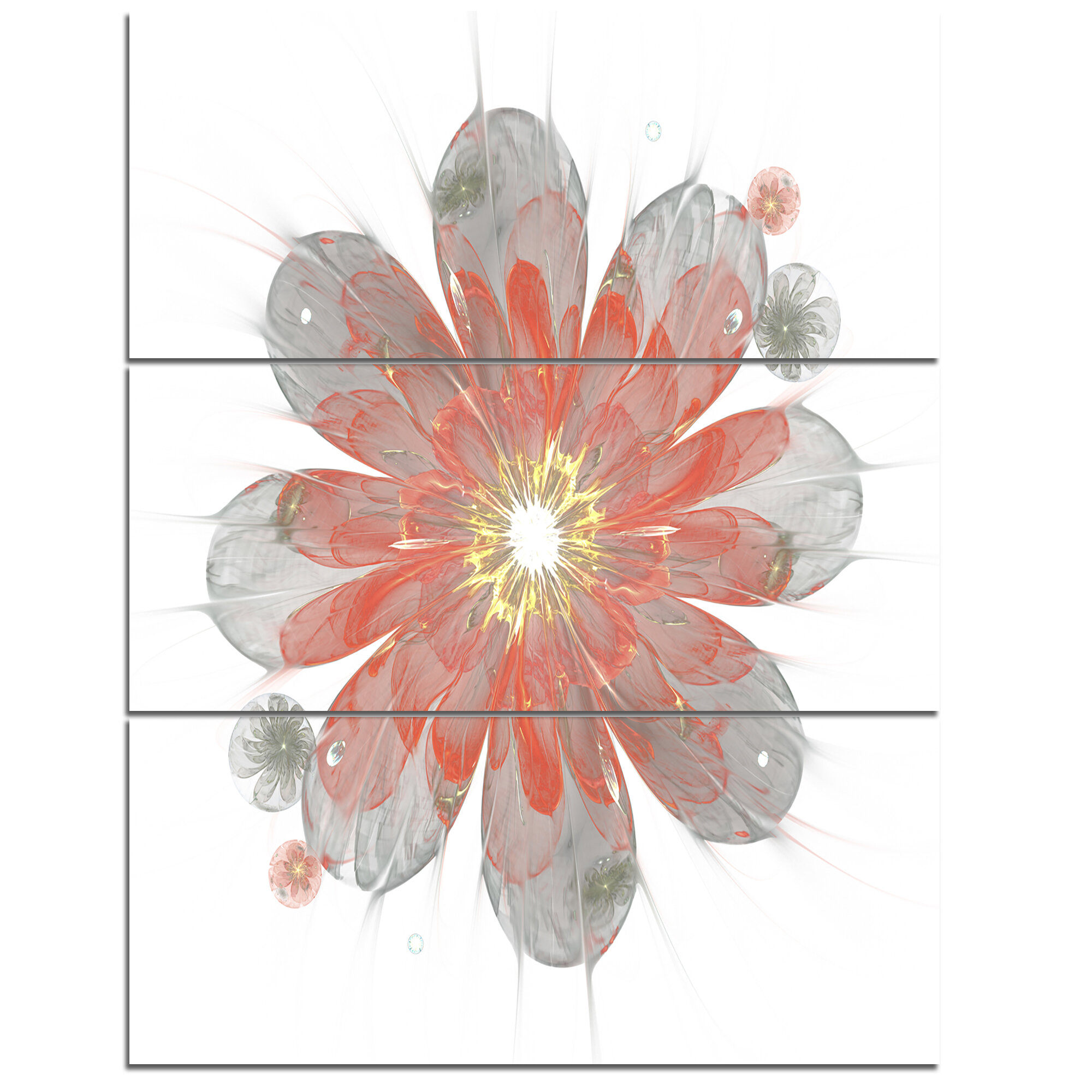 Designart Simple Red And White Fractal Flower 3 Piece Graphic Art On Wrapped Canvas Set Wayfair