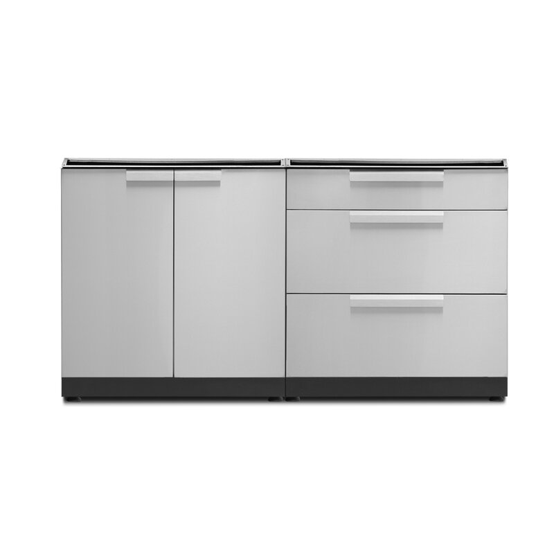 Newage Products Stainless Steel 2 Piece Modular Outdoor Kitchen Cabinets Reviews Wayfair