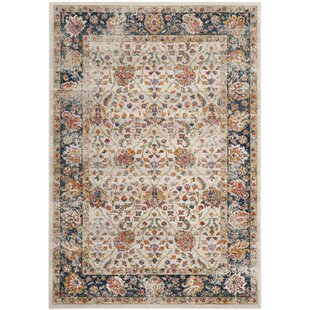 Grieve Cream/Navy Area Rug byBungalow Rose