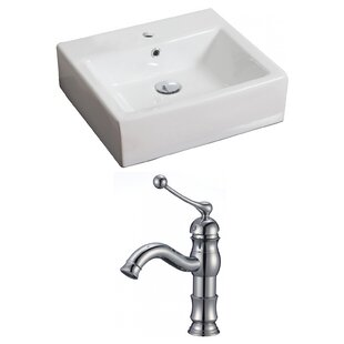 Comparison Ceramic 21 Wall-Mount Bathroom Sink with Faucet and Overflow ByRoyal Purple Bath Kitchen