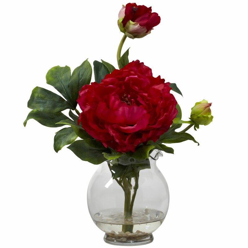 Nearly Natural Peony With Fluted Vase Silk Flower In Red Reviews