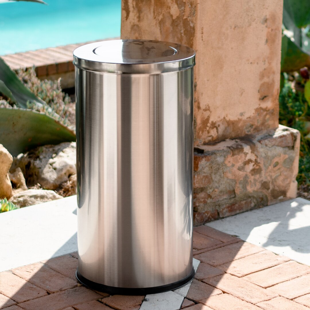 Waste Bin With Hinged Lid | Kitchen Bin Made Of Steel | Remo