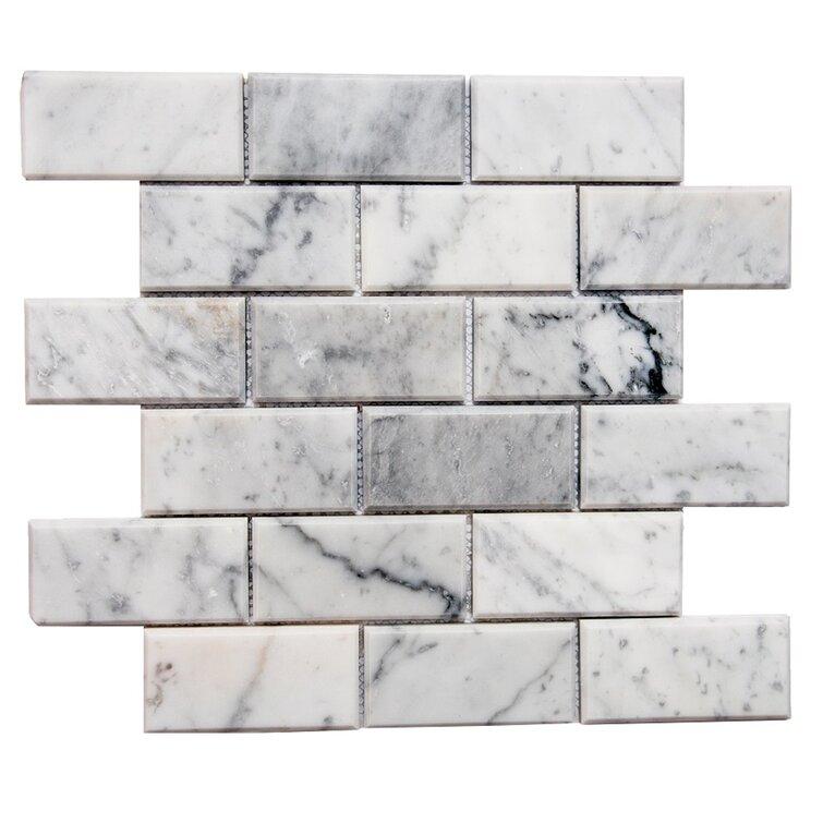 "Santorini 2"" x 4"" Beveled Marble Mosaic Tile"