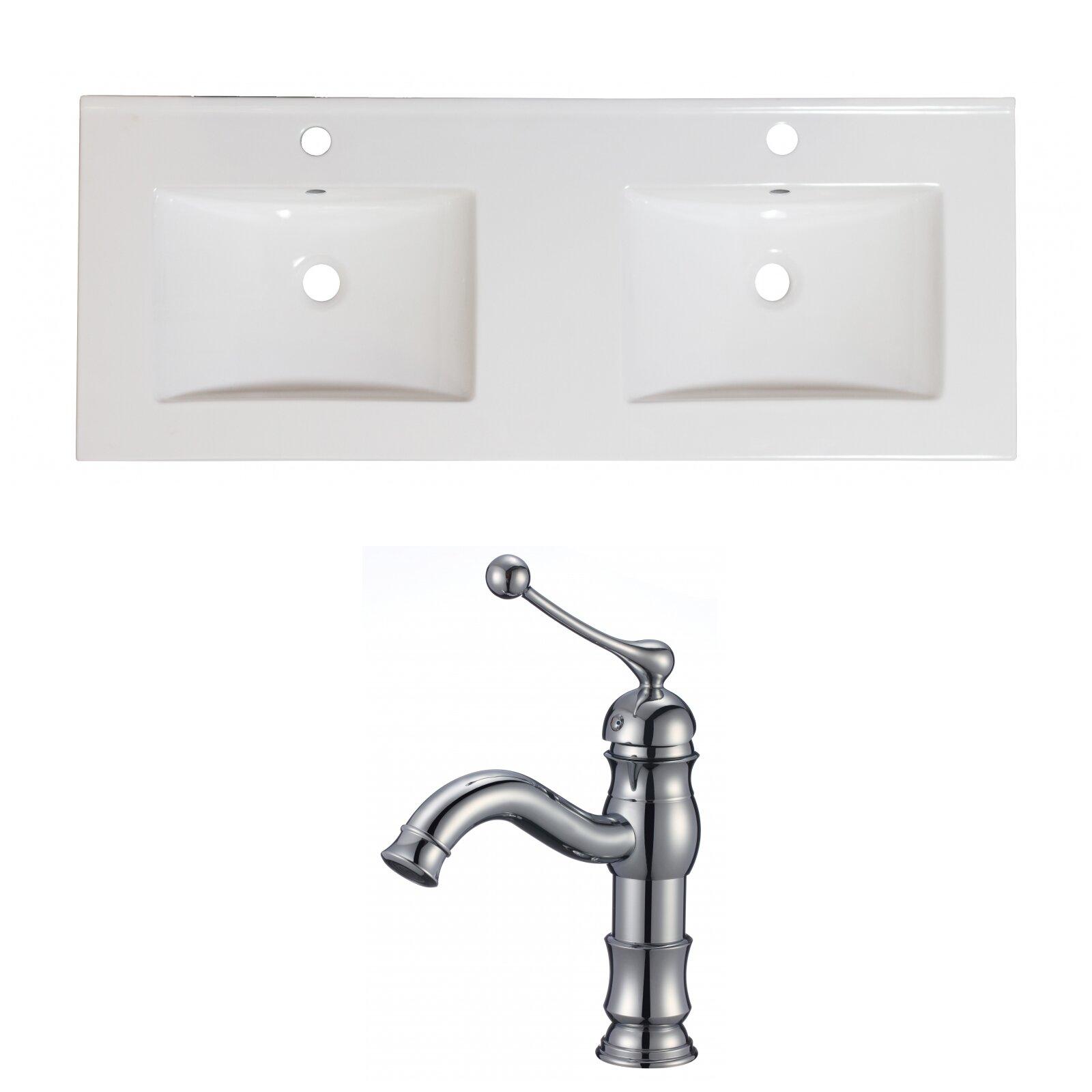Royalpurplebathkitchen Xena Ceramic 59 Double Bathroom Vanity Top Wayfair